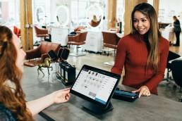 woman at restaurant counter